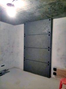отделка спальни декоративной штукатуркой под бетон