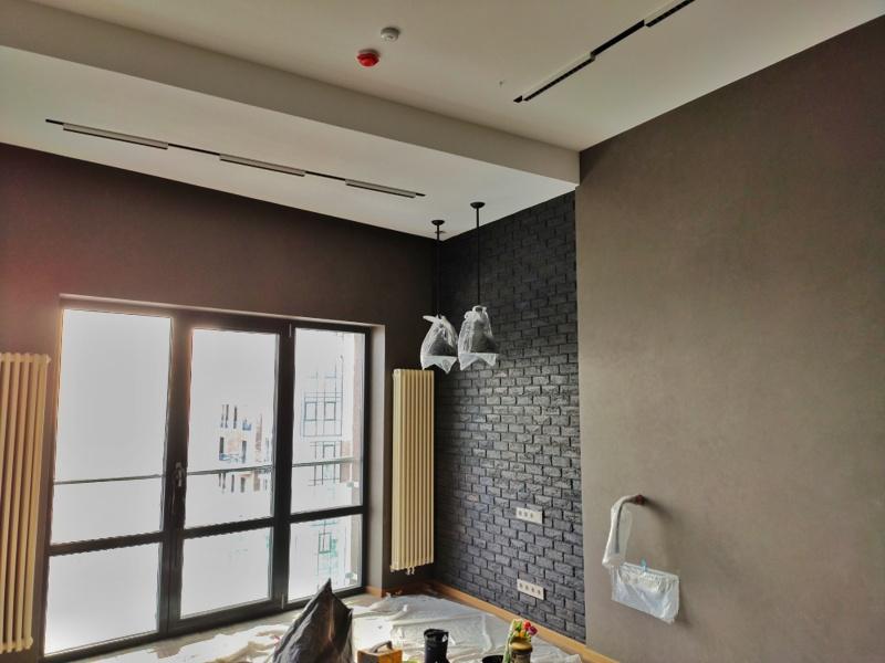 отделка декоративной штукатуркой кирпичём, бетоном комнаты в стиле лофт