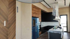 отделка кухни декоративной штукатуркой плюш в стиле минимализм